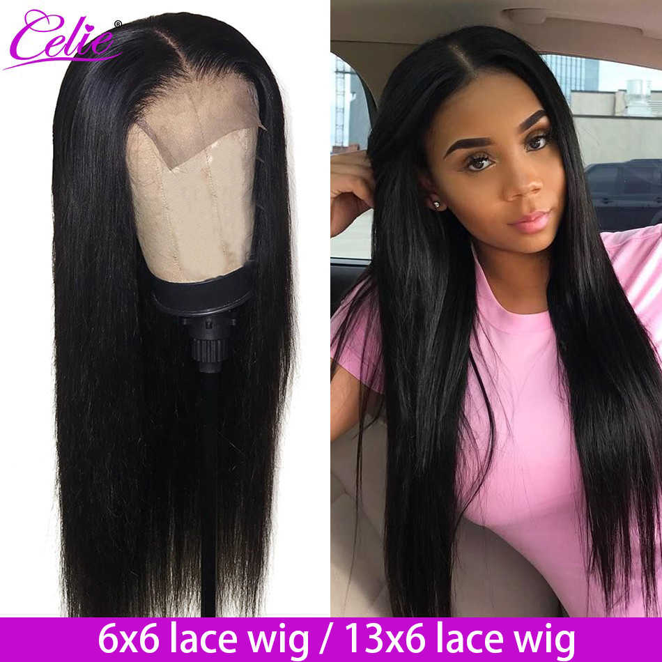 Celie Hair 6x6 Closure Wig Brazilian Straight Lace Front Wig 180 250 Density Pre Plucked 13x6 Lace Front Human Hair Wigs