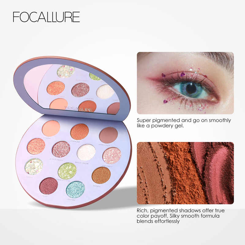 FOCALLURE 12 צבעים צלליות Pallete פיגמנט מאוד מט גליטר אבקת עבור עין איפור מקצועי