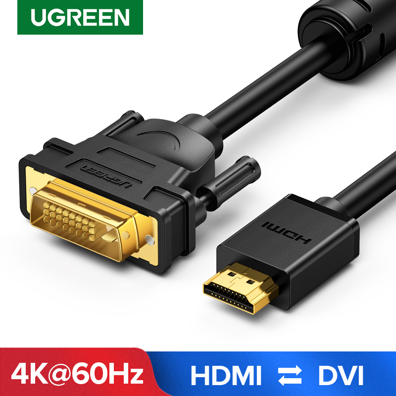 Ugreen HDMI To DVI Bi-direction DVI-D 24+1 Adapter Cable HD 1080P Converter For Xbox PS4 HDTV LCD DVD Male To Male DVI To HDMI