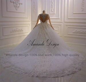 Image 5 - Vestido de novia con diseño de flores 3 D de manga larga con diamantes de imitación y cristales