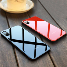 Ponsel Mewah Case Cermin Plating Tempered Kaca Penutup untuk Apple iPhone XR X Max 6S 7 8 Telepon Shell capa Coque Fundas(China)