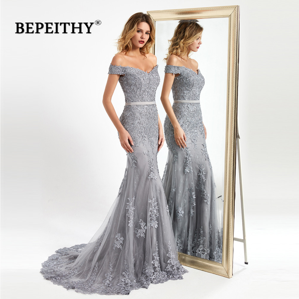 BEPEITHY Vestidos De Fiesta De Noche Mermaid Long Evening Dresses 2020 Lace Sexy вечернее платье Prom Dress With Short Train