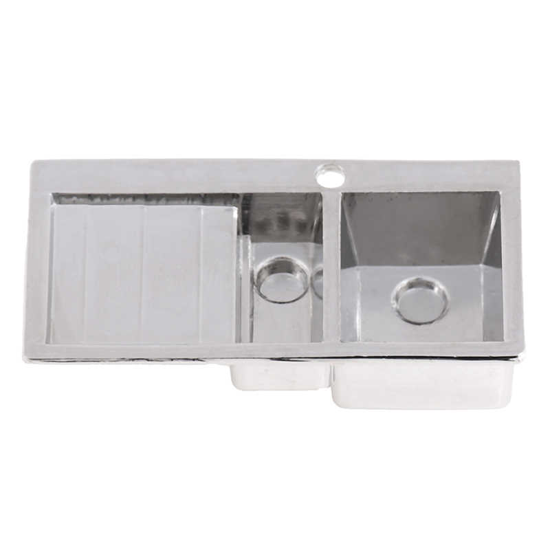 1:12 Mini fregadero de cocina de aleación simulación de verdura lavabo modelo de juguete para decoración en miniatura de casa de muñecas