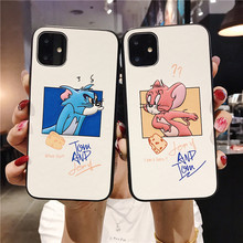 Cat and mouse mobile phone case solid color soft silicone anti-fall cover for iPhone XR XS Max X 6 6S 7 8 Plus 11PRO MAX(China)