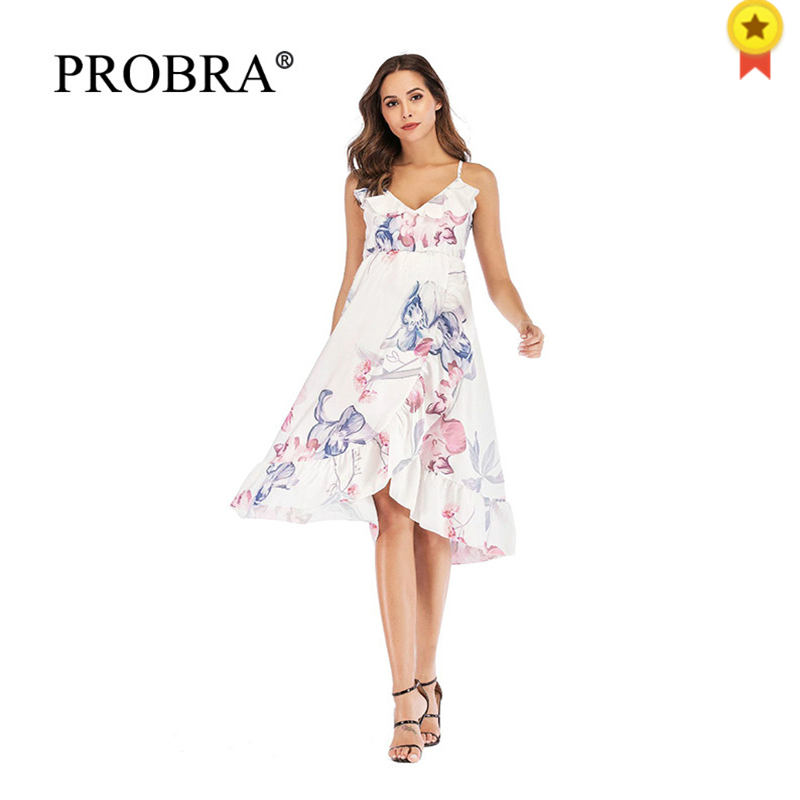 Pregnancy Dresses Loose Maxi Gown Ruffle For Photography Props Long Dresses Women Casual Clothes Sling Loose Ink Painting 2019 L