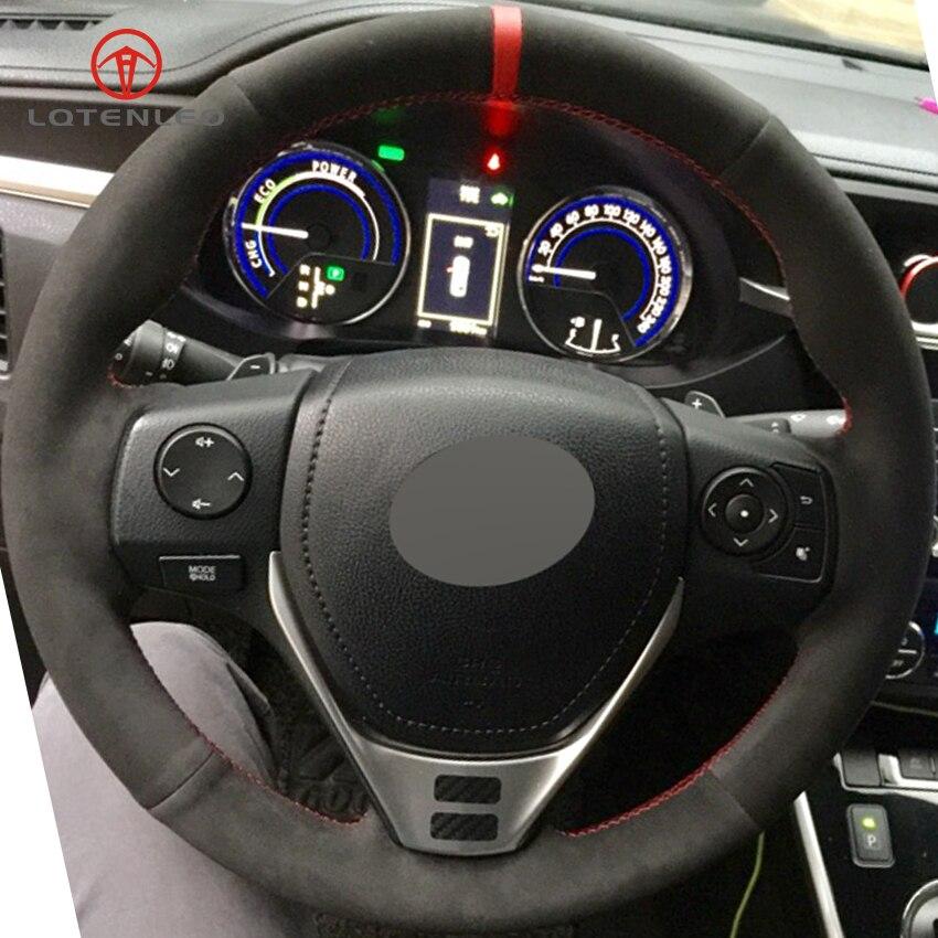 LQTENLEO-couverture de volant de voiture bricolage | En daim noir, pour Toyota RAV4 2013-2019 Corolla 2014-2019 Auris 2013-2016 Scion iM 2016