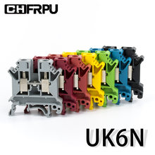 10 pces ruído trilho terminal bloco UK-6N connductor universal classe parafuso fio conector tiras desmontar montagem