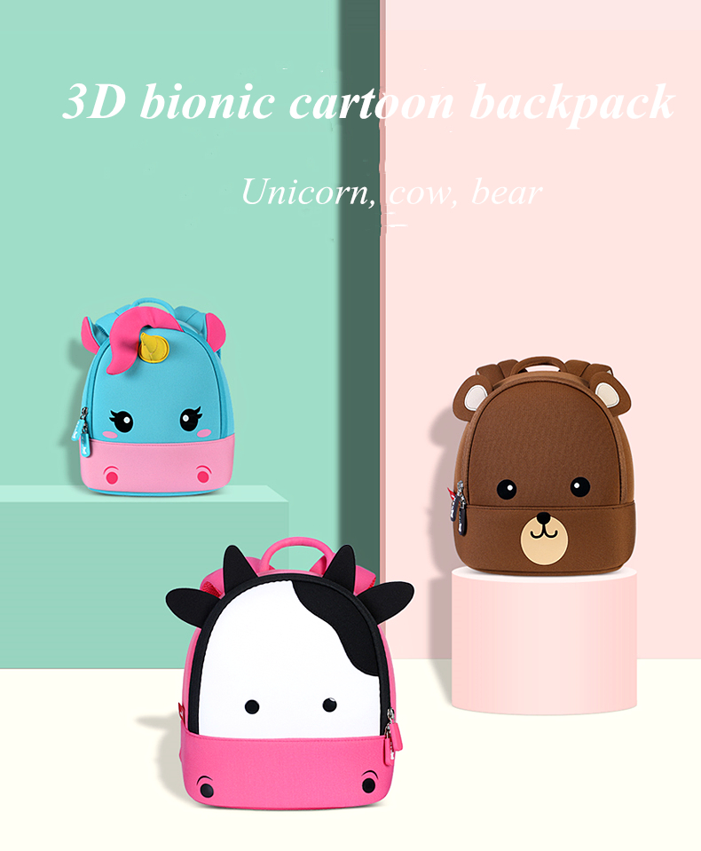 School Bags NOHOO Kids Bag For Boys Girls 3D Cartoon Kindergarten High Quality Waterproof Children's Unicorn Bear Cow Backpack