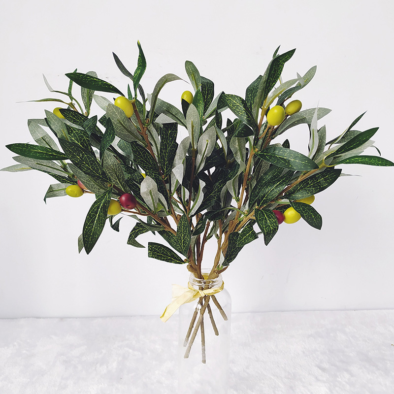 5pcs Green Artificial Olive Branches Simulation Plant Tree Leaf Home Wedding Decorative Bouquet Diy Material