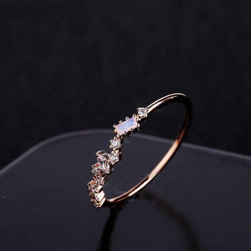 MIGGA délicat Rose pierre cubique Zircon irrégulier femmes bague en or Rose couleur cadeau bijoux