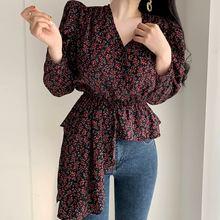 Женская блузка осенняя Корейская шикарная винтажная с v образным
