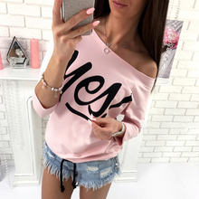 Women's T-Shirts New Letter Print Long Sleeve Girl Tops Slash Neck Casual One Shoulder T shirt Female Tee Tops Pink Red Grey