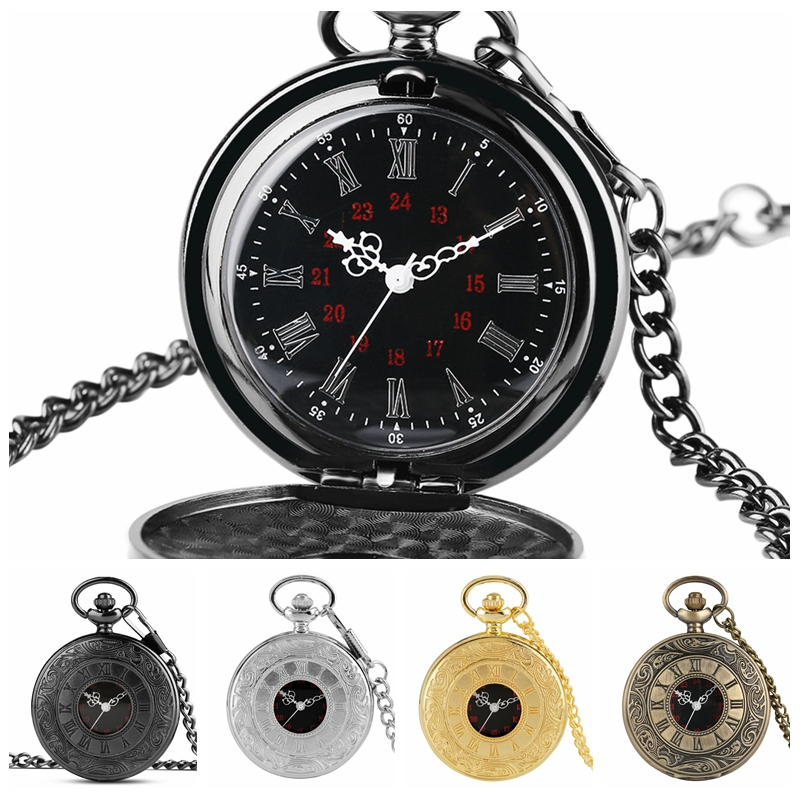 Antique Retro Roman Numerals Display Quartz Pocket Watch  FOB Clock Cheap Price Necklace 80cm/30cm Pendant Chain Christmas Gifts
