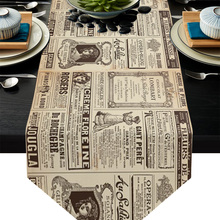 Table Runner English-Letters Flower Christmas-Decorations Wedding Retro Home for Newspaper