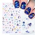 1 шт. 3D наклейки для ногтей с изображением Вселенной планеты, цветные наклейки для ногтей с изображением космонавта инопланетянина, дизайн Н...