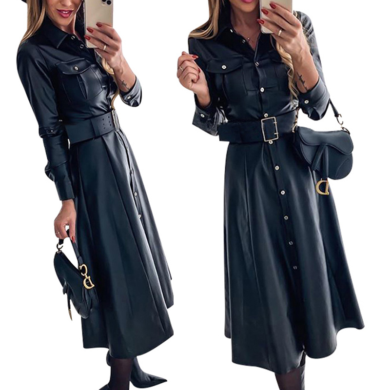 Midi Faux Leather Dress Club Wear Sexy Dress Office Ladies A-Line Buttons Dresses Belt PU Shirts Dress Women Vintage Vestidos