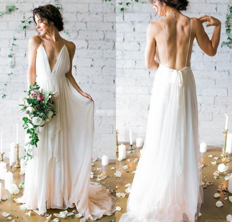 Boho Wedding Dress 2020 Sexy Backless Wedding Dresses Spaghetti Straps Deep V Neck Chiffon Beach Bridal Gowns Cheap