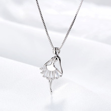 Silver 925 Jewelry Silver Dancing Girl Necklace Simple Temperament Clavicle Chain Necklace For Women Party Gift