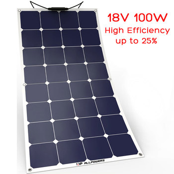 ALLPOWERS Solar Panels 100W Flexible Waterproof Solar Panel Charger for Yacht RV Boat Cabin Caravan Vehicle Battery..