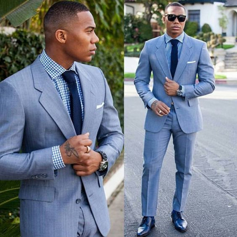 2020 New Costume Homme Light Blue Mens Suits Groom Tuxedos Terno Groomsmen Wedding Party Dinner Best Man Suit Jacket Pants Tie Hot Deal 878c Cicig