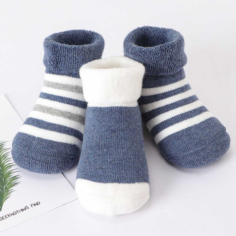 3 Pairs/Lot Infant Baby Socks Girls Boys Striped Toddler Thicken Warm Terry Socks Autumn Winter Baby Socks For 0-3 Years