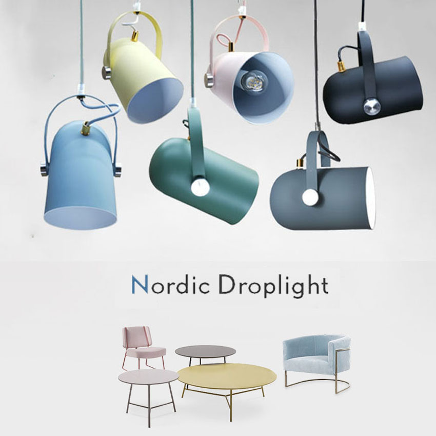 7 Colours Nordic Angled Drop Light  Adjustable E27 Small Led Pendant Lights For Home Lighting Creative Led Pendant Lamps