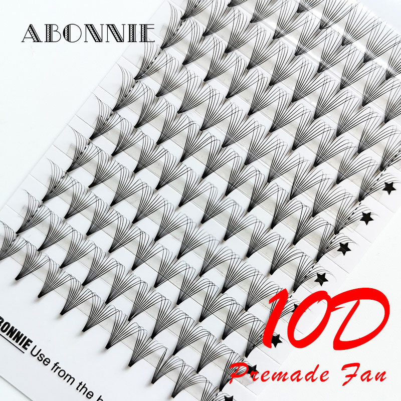 Abonnie Pre Made Fans 10D Eyelash Extension Short Stem Heat Bonded Premade Fans Russia Volume Makeup Tools Faux MInk