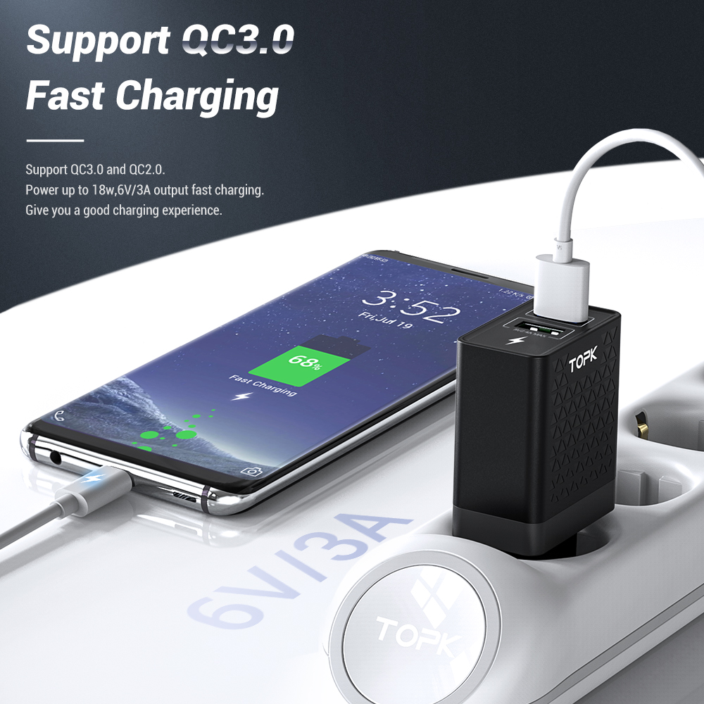 Image 2 - TOPK B254Q Quick Charge 3.0 Dual USB Charger Adapter EU Travel Wall QC3.0 Fast Phone Charger for iPhone Samsung Xiaomi-in Mobile Phone Chargers from Cellphones & Telecommunications