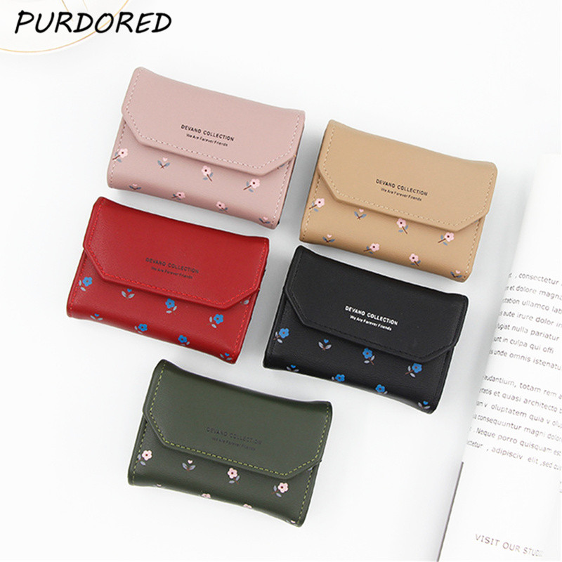 PURDORED 1 Pc Women Floral Card Holder PU Small Credit Card Holders Female Minimalist Wallet Zipper Coin Purse Cute ID Holders