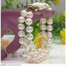 NEW 2 ROW NATURAL WHITE SOUTH SEA PEARL BRACELET 7.5-8 INCH(China)