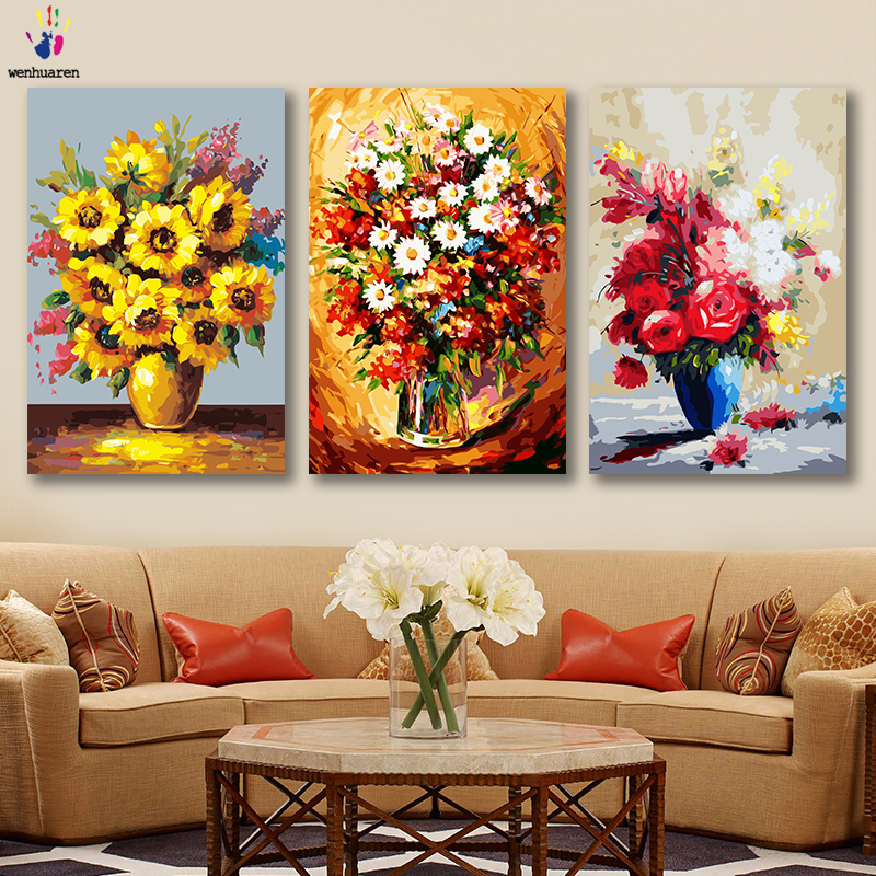 DIY Colorings Pictures By Numbers With Colors Sunflower Rose Oil Painting Picture Drawing Painting By Numbers Framed Home