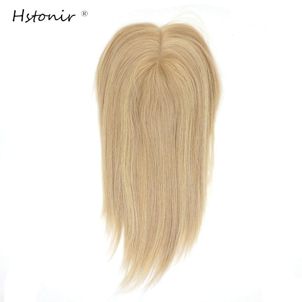 Hstonir Light Blond Topper 60 Top Piece Wig Toupe Pelo Toupet Capilaire Femme Small Hair Piece European Remy Hair TP33