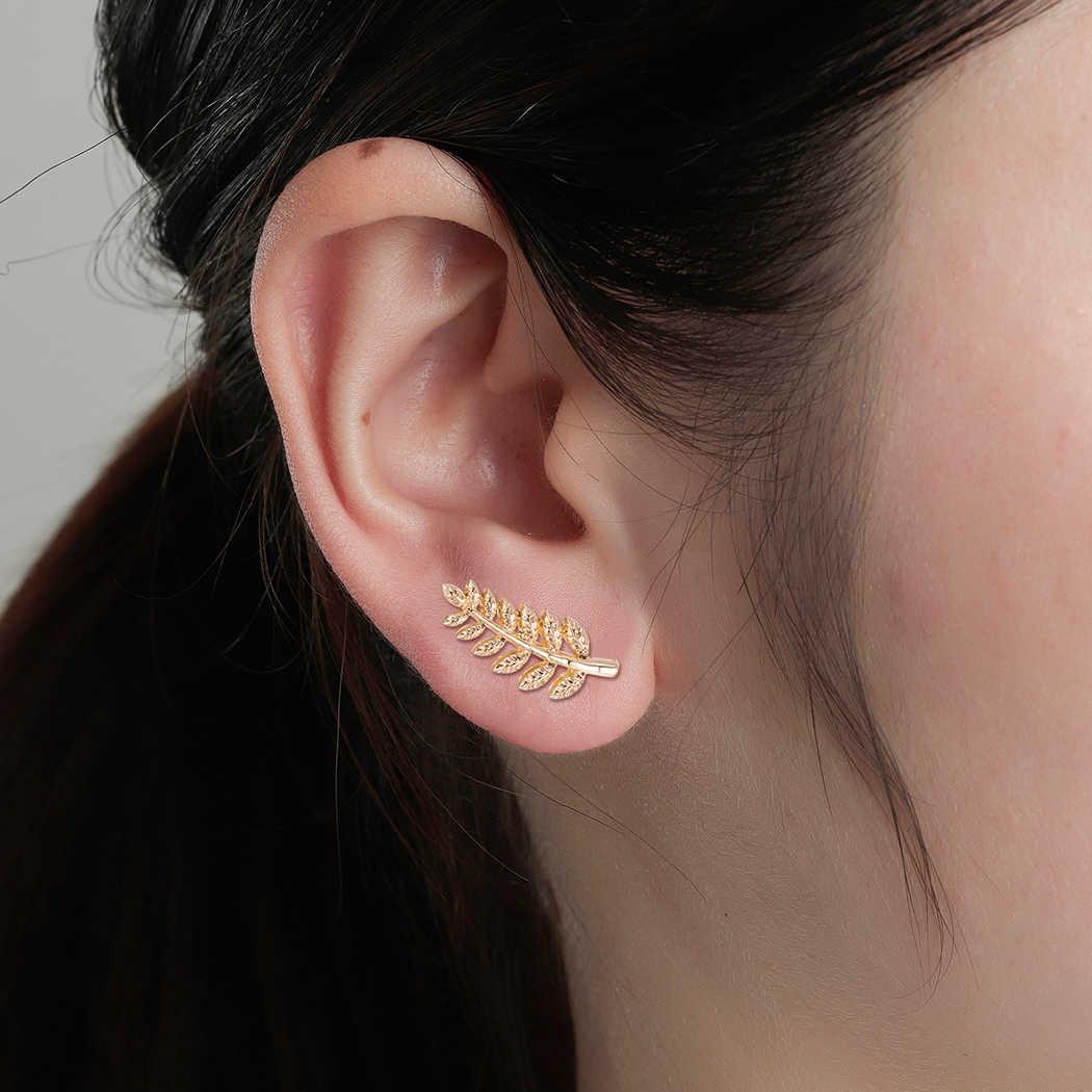 Cxwind แฟชั่นต่างหู Cuff EAR Climbers งานแต่งงานเครื่องประดับเรขาคณิต OLIVE Leaf ตุ้มหูต่างหูผู้หญิงเจ้าสาว Brincos