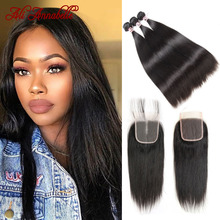 Peruvian Straight Human Hair With Lace Closure Double Weft Human Hair Bundles With Closure 4x4 HD Lace Closure With 3 Bundles