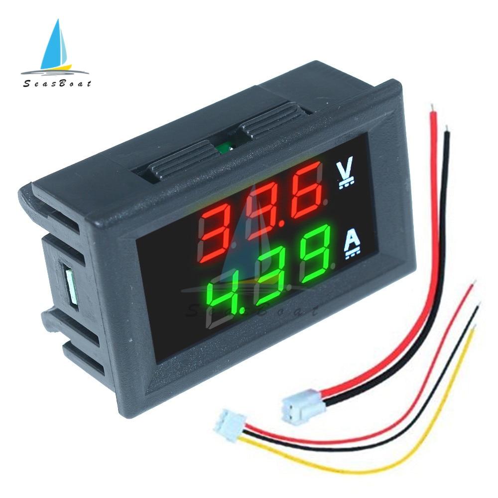 0.56 0-100V 10A 50A 100A LED Digital Voltmetro Amperometro Auto Moto Tester di Tensione di Corrente Volt Detector tester di Pannello del Monitor