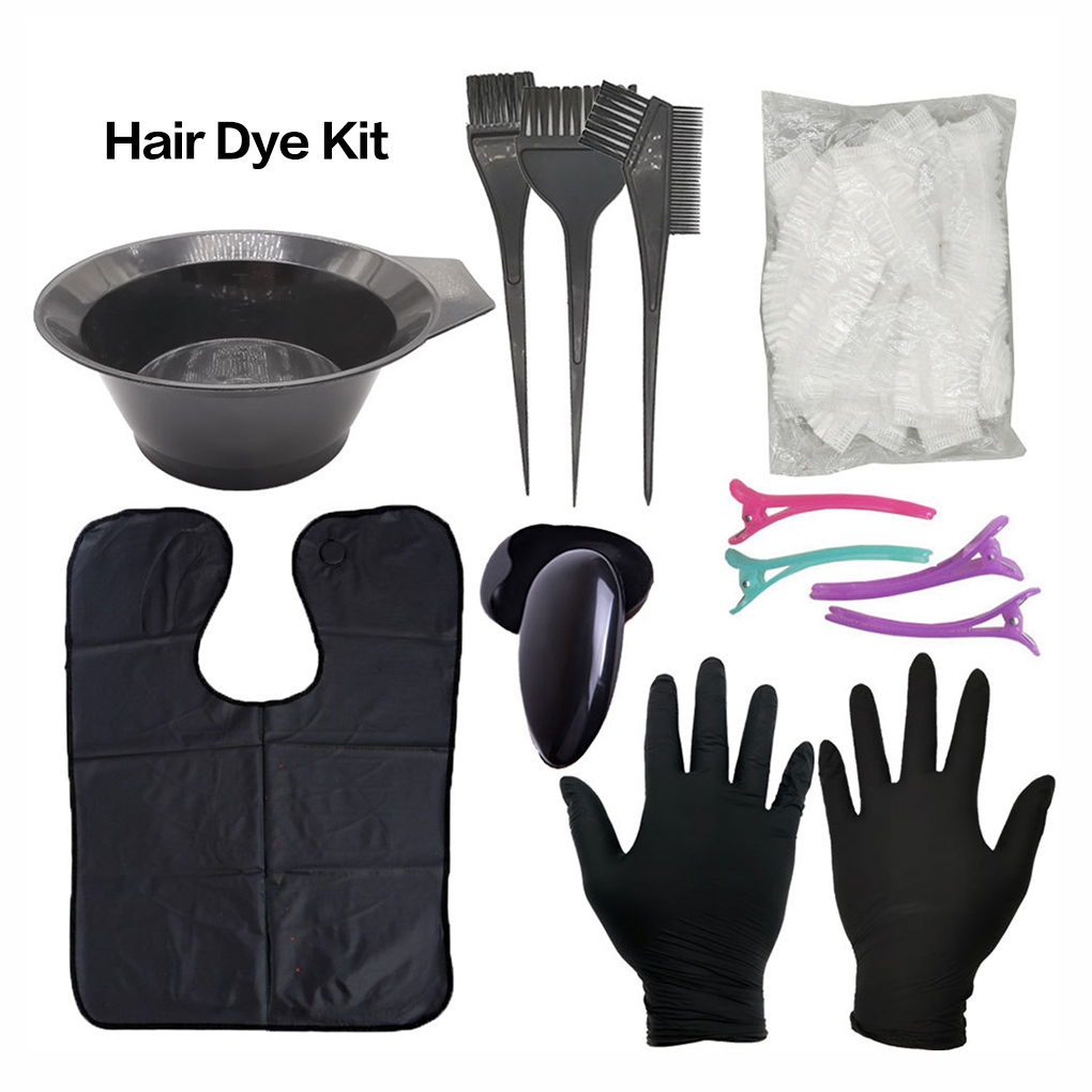 Black Hair Color Tool Set Plastic Hairdressing Brushes Bowl Combo Salon Hair Color Kit Dye Hair Bowl Comb Brushes Tool Set