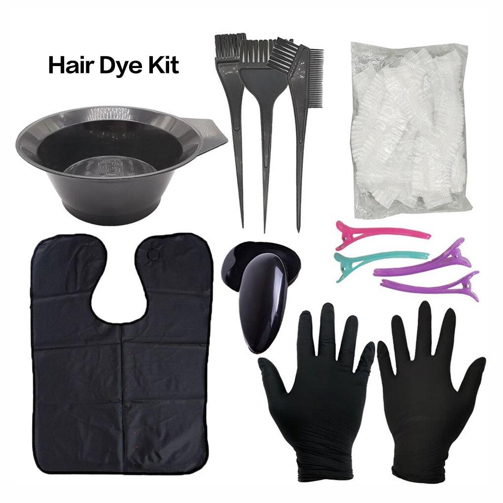 Black Hair Color Tool Set Plastic Hairdressing Brushes Bowl Combo Salon Hair Color Kit Dye Hair Bowl Comb Brushes Tool Set