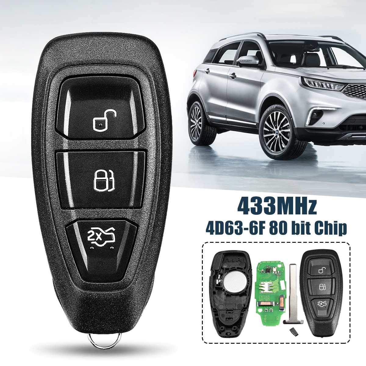 433Mhz 3 Button Smart Intelligent full <font><b>Remote</b></font> <font><b>Key</b></font> <font><b>for</b></font> <font><b>Ford</b></font> B-Max <font><b>for</b></font> C-Max <font><b>for</b></font> <font><b>Focus</b></font> <font><b>for</b></font> Galaxy KR55WK48801 4D83 80bit image