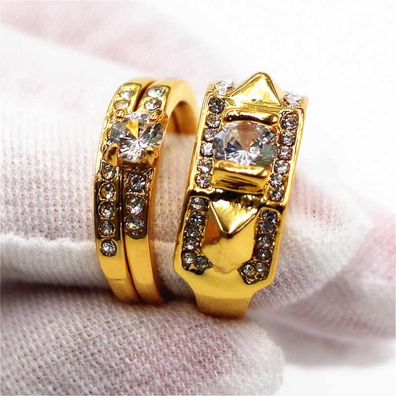 ใหม่ Vintage คริสตัลแหวนคู่แหวนผู้ชายส่วนบุคคลเครื่องประดับแหวนผู้หญิงงานแต่งงานแหวนของขวัญเลดี้