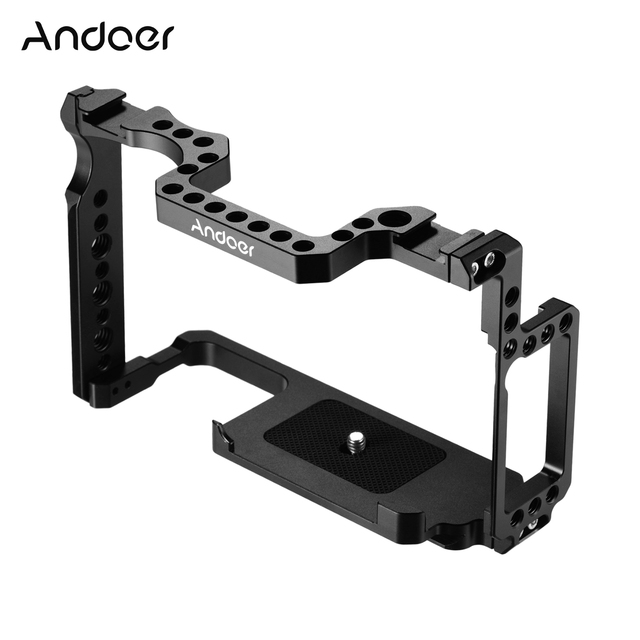 Andoer מצלמה כלוב אלומיניום סגסוגת עם 1/4 אינץ + 3/8 אינץ בורג חורים כפול קר נעל הר עבור Canon 5DS 5DR 5D סימן IV/III/II