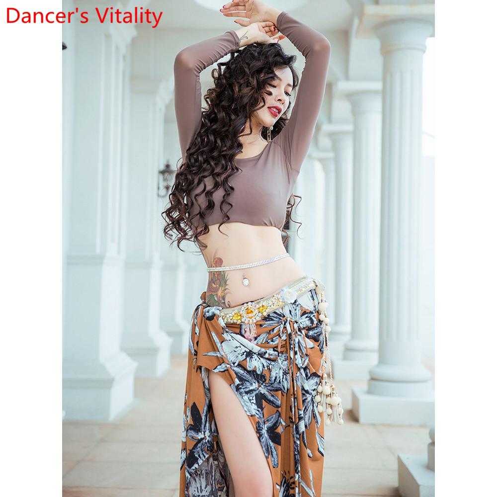 Belly Dance Practice Clothes New Long Sleeve Top Printing Skirt Beginners Oriental Indian Dancing Performance Training Outfits