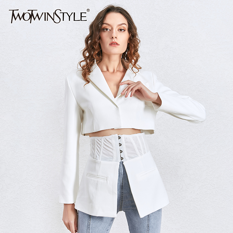 TWOTWINSTYLE Korean Autumn White Women's Blazer Lapel Tunic Long Sleeve Slim Suit Female Spring New Fashion Clothing 2020