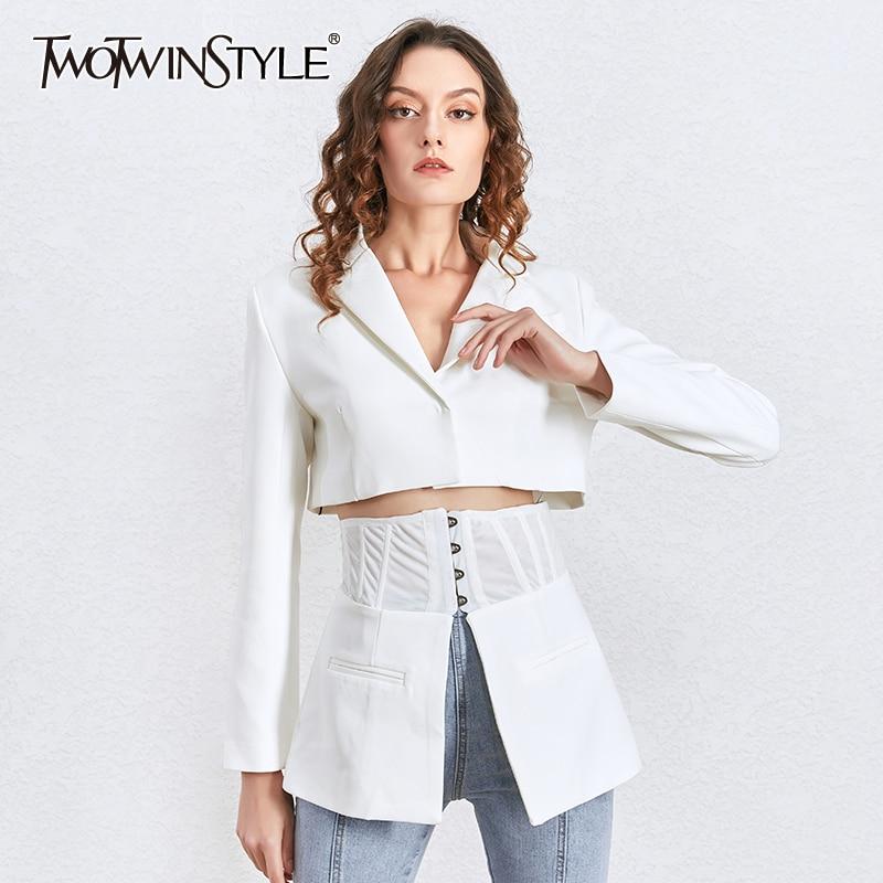 TWOTWINSTYLE Korean Autumn White Women's Blazer Lapel Tunic Long Sleeve Slim Suit Female Spring New Fashion Clothing 2020