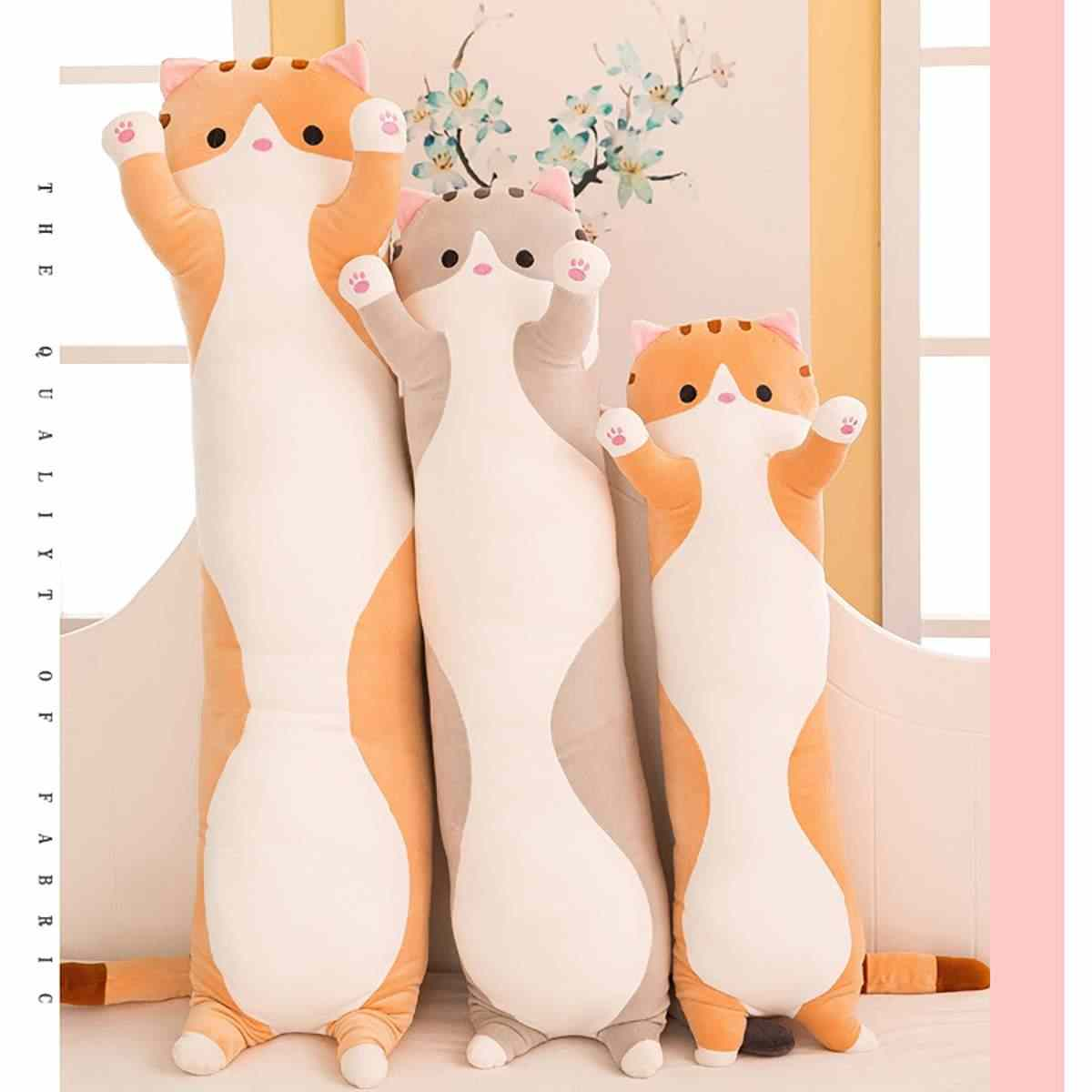 Plush Toys Animal Cat Cute Creative Long Soft Toys Office Lunch Break Nap Sleeping Pillow Cushion Stuffed Gift Doll for Kids