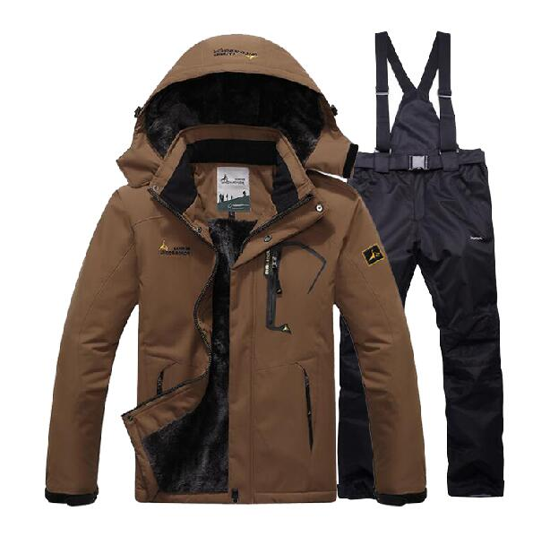 Men Winter Outdoor Warm Fleece Coat + Pants Ski Suit Sets Jacket Snowboard Hiking Climbing Windbreak