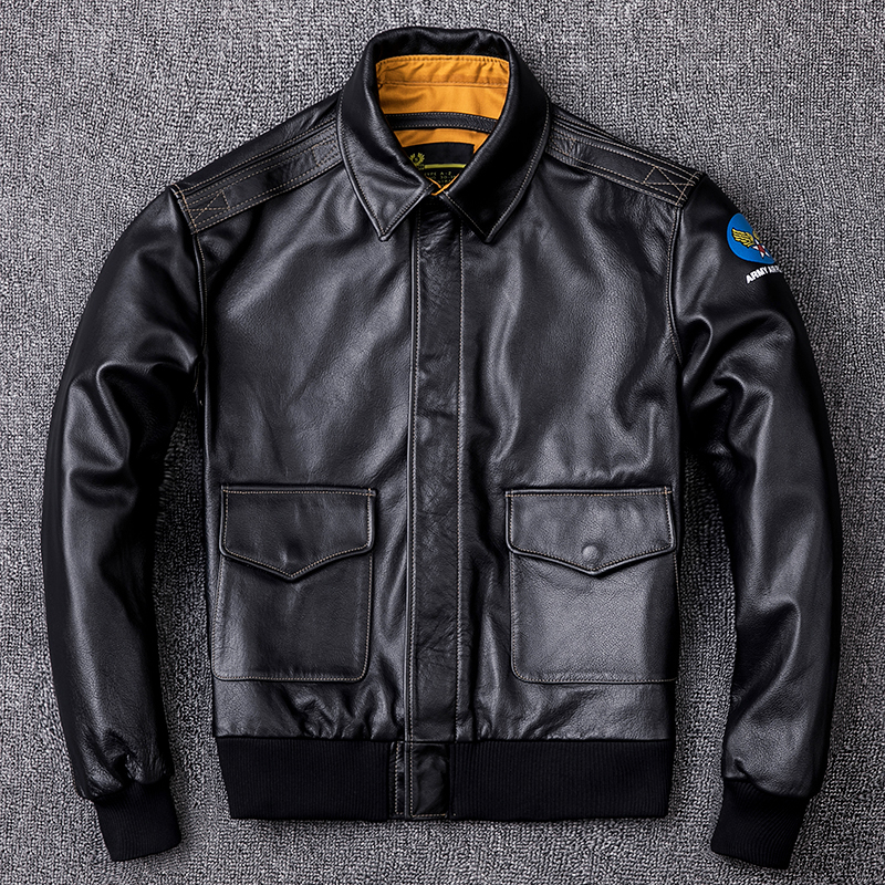 Real Cow Bomber Jacket Men Clothes 2020 New Vintage Genuine Leather Jackets Plus Size XXXXL Coat Jaqueta De Couro ZL404