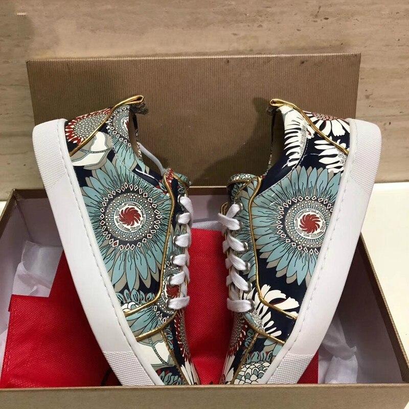 2019-20 nouveaux hommes chaussures décontractées bas haut bout rond à lacets couleur mixte fleurs imprimer masculin chaussures plates conception chaussures peu profondes