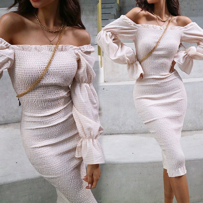 Elegant Fit And Pleated Solid Color Women 2020 Summer Spring Sexy Off Shoulder Long Sleeve Ladies Mermaid Party Dress Vestidos
