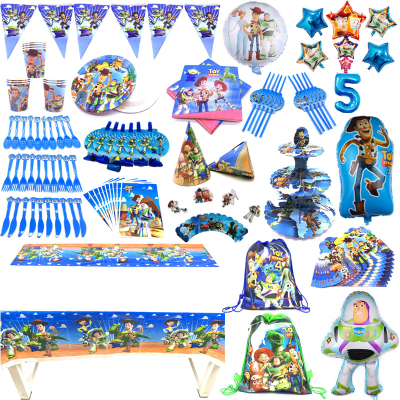 Toy Story4 Birthday Theme Supplies Set Party Cups Plates Tableware Paper Straws Tablecloth Birthday Party Napkins Flag Decorate(China)