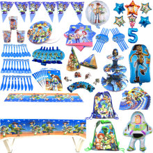 Toy Story4 Birthday Theme Supplies Set Party Cups Plates Tableware Paper Straws Tablecloth Birthday Party Napkins Flag Decorate